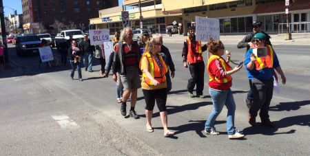 Participants setting off on the march portion of the action against Bill C-51 that took place today in Sudbury. (Photo by Scott Neigh)