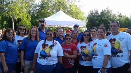 Several members of CUPW gathered in Sudbury, Ontario with PM Justin Trudeau and his cabinet August 22, 2016