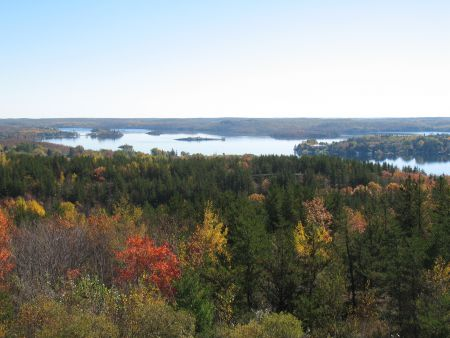 View from the Lonsdale hilltop over Ramsey Lake.  This city land is now in the parks inventory.  (Photo by Naomi Grant)
