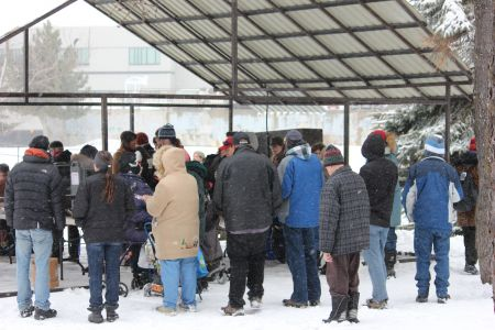 Demonstrators gathering in Memorial Park in downtown Sudbury for last Friday's Solidarity Against Austerity rally and march. (Photo by Larson Heinonen)