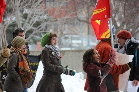 Demonstrators at last Friday's Solidarity Against Austerity action in Sudbury. (Photo by Larson Heinonen)