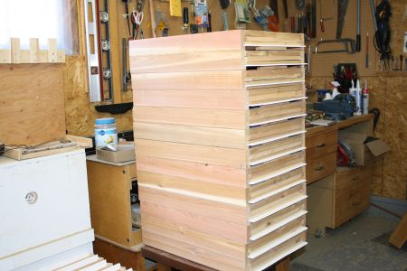 A stack of bottom boards Bob made for his hives