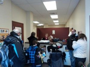 Members of the Sudbury Coalition Agaisnt Poverty visiting  the office of MPP Rick Bartolucci. (Photo by Larson Heinonen)