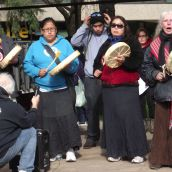 A drumming performance at the Friday afternoon rally. (Photo by Scott Neigh)