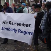 "The action was dedicated to the memory of Kimberly Rogers, a Sudbury woman who in the late 1990s was ""killed by ... policies that attack the poor and vulnerable,"" according to Sudbury activist Laurie McGauley. (Photo by Scott Neigh)"