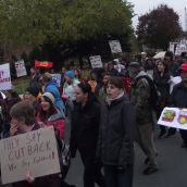 The march went through downtown Sudbury before heading back to Sudbury Secondary School, where out-of-town activists boarded their buses and cars to return home and continue the struggle. (Photo by Scott Neigh)