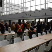 The marchers decided to end things off on Friday afternoon by paying a visit to the rotunda of Tom Davies Square, which is Sudbury's city hall. (Photo by Treana Campbell)
