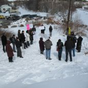 Around 25 people gathered by Ramsey Lake for World Water Day