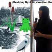 Shannon Dennie (Junction Creel Stewardship Committee) explains how they will shed light on Junction Creek.