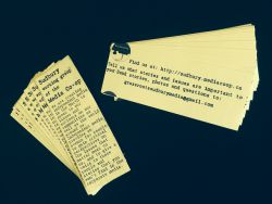 Sudbury working-group of The Media Co-op bookmarks. (Photo by Scott Neigh, bookmarks designed by Rachael Charbonneau.)