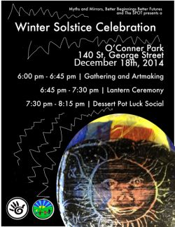 Poster for the Sudbury community winter solstice celebration.