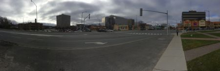 A panoramic shot of one approach to downtown Sudbury. (Photo by Scott Neigh)